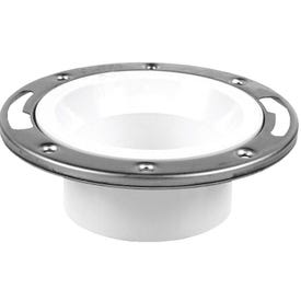 Oatey 43495 Closet Flange, 3, 4 in Connection, PVC, White, For: 3 in, 4 in Pipes
