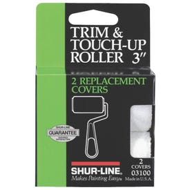 SHUR-LINE 03100 Trim Roller Refill, 3/8 in Thick Nap, 3 in L, Fabric Cover
