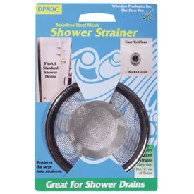 Whedon DP80C Shower Strainer with Ring, Stainless Steel, For: Bathtub Drains