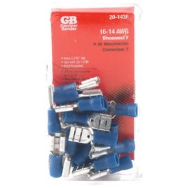 GB 20-143F Disconnect Terminal, 600 V, 16 to 14 AWG Wire, 1/4 in Stud, Vinyl Insulation, Blue