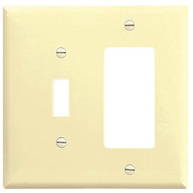 Eaton Wiring Devices 2153V-BOX Wallplate, 4-1/2 in L, 4-9/16 in W, 2-Gang, Thermoset, Ivory, High-Gloss