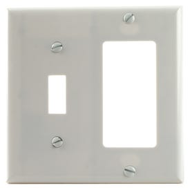 Eaton Wiring Devices 2153W-BOX Wallplate, 4-1/2 in L, 4-9/16 in W, 2-Gang, Thermoset, White, High-Gloss