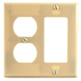 Eaton Wiring Devices 2157V-BOX Wallplate, 4-1/2 in L, 4-9/16 in W, 2-Gang, Thermoset, Ivory, High-Gloss