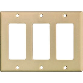 Eaton Cooper Wiring 2163 Series 2163V-BOX Wallplate, 4-1/2 in L, 6.37 in W, 3-Gang, Thermoset, Ivory, High-Gloss