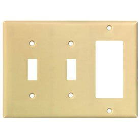 Eaton Wiring Devices 2173V-BOX Wallplate, 4-1/2 in L, 6-3/8 in W, 3-Gang, Thermoset, Ivory, High-Gloss