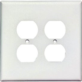 Eaton Wiring Devices 2750W-BOX Duplex Receptacle Wallplate, 5-1/4 in L, 5-5/16 in W, 2-Gang, Thermoset, White