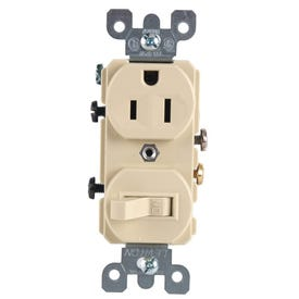 Eaton Cooper Wiring TR274V Heavy-Duty Combination Switch/Receptacle, 120 V Switch, 125 V Receptacle, 2-Pole
