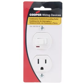 Eaton Cooper Wiring TR274W Combination Switch/Receptacle, 2-Pole, 15 A, 120 V Switch, 125 V Receptacle, White
