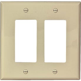 Eaton Wiring Devices PJ262V Decorative Wallplate, 2-Gang, Polycarbonate, Ivory