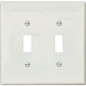 Eaton Wiring Devices PJ2W Mid-Size Wallplate, 2-Gang, Polycarbonate, White
