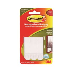 Command 17201 Picture Hanging Strip, 3/64 in Thick, Paper Backing, White, 3 lb