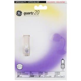 GE 85044 Halogen Bulb, 20 W, G4 Lamp Base, T2.5 Lamp, 320 Lumens, 2750 K Color Temp