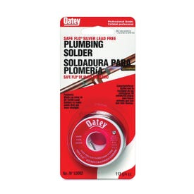 Oatey Safe-Flo 53062 Wire Solder, 1/4 lb Carded, Solid, Gray/Silver, 415 to 455 deg F Melting Point
