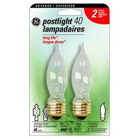 GE 22813 Post Bulb, 40 W, CA9 Lamp, E26 Medium Lamp Base, 360 Lumens, 2600 K Color Temp