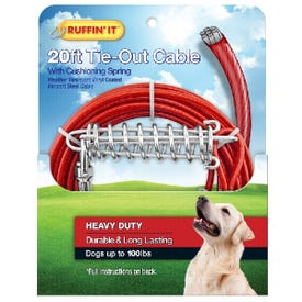 RUFFIN'IT 29220 Cable Tie-Out with Cushioning Spring, Heavy-Duty, Swivel Snap End, 20 ft L Belt/Cable, Steel, Red