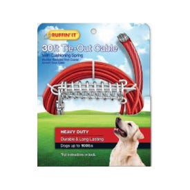 RUFFIN'IT 29230 Cable Tie-Out with Cushioning Spring, Heavy-Duty, Swivel Snap End, 30 ft L Belt/Cable, Steel, Red