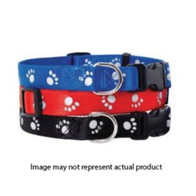 RUFFIN'IT 39201 Reflective Paw Print Collar, 8 to 12 in L Collar, 3/8 in W Collar, Nylon, Assorted