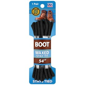 Shoe Gear 1N311-34 Boot Lace, Round, Black, 54 in L