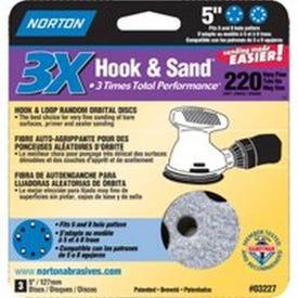 NORTON 03227 Sanding Disc, 5 in Dia, 11/16 in Arbor, Coated, P220 Grit, Very Fine, Alumina Ceramic Abrasive, Spiral