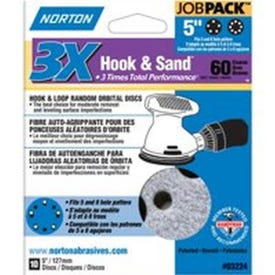 NORTON 03224 Sanding Disc, 5 in Dia, 11/16 in Arbor, Coated, P60 Grit, Coarse, Zirconia Aluminum Abrasive, Spiral
