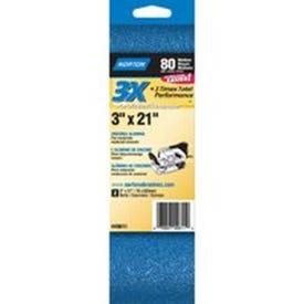 NORTON 49611 Sanding Belt, 3 in W, 21 in L, 80 Grit, Medium, Zirconia Aluminum Abrasive