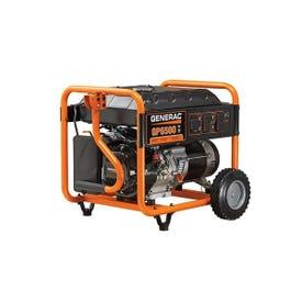 GENERAC 5976 Portable Generator, 54.2/27.1 A, 120/240 V, Gas, 6.77 gal Tank, 10 hr Run Time, Recoil Start