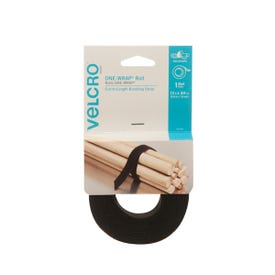 VELCRO Brand One Wrap 90340 Fastener, 3/4 in W, 12 in L, Nylon/Polypropylene, Black