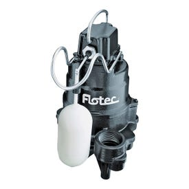 Flotec FPCI3350 Submersible Sump Pump, 120 V, 0.33 hp, 1-1/2 in Outlet, 22 ft Max Head, 4200 gph, Zinc