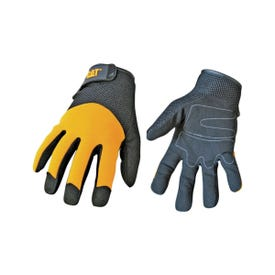 Cat CAT012215J Utility Gloves, Jumbo, Wrist Strap Cuff, Synthetic Leather, Black/Yellow