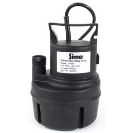 Simer 11652 Submersible Sump Pump, 1-Phase, 15 A, 115 V, 0.166 hp, 1 in Outlet, 900 gph, Thermoplastic
