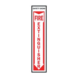 HY-KO FE-1 Safety Sign, Fire Extinguisher, Red Legend, Vinyl, 4 in W x 18 in H Dimensions