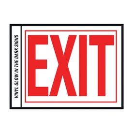 HY-KO EE-2 Safety Sign, Exit, Red Legend, Vinyl, 10 in W x 8 in H Dimensions