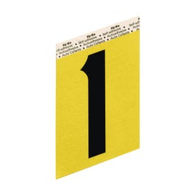 HY-KO GG-25/1 House Number, Character: 1, 3-1/2 in H Character, Black Character, Gold Background, Aluminum