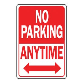 HY-KO HW-1 Parking Sign, Rectangular, NO PARKING ANYTIME, Red/White Legend, Red/White Background, Aluminum