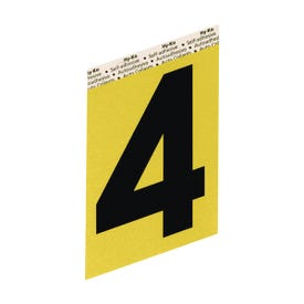 HY-KO GG-25/4 House Number, Character: 4, 3-1/2 in H Character, Black Character, Gold Background, Aluminum