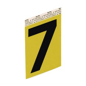 HY-KO GG-25/7 House Number, Character: 7, 3-1/2 in H Character, Black Character, Gold Background, Aluminum