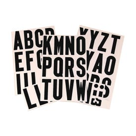 HY-KO MM-4L Packaged Letter Set, 3 in H Character, Black Character, White Background, Vinyl