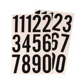 HY-KO MM-4N Packaged Number Set, 3 in H Character, Black Character, White Background, Vinyl