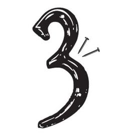HY-KO PN-29/3 House Number, Character: 3, 4 in H Character, Black Character, Plastic