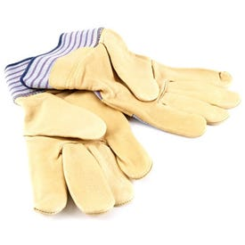 Kinco 1917-L Lightweight Safety Gloves, Men's, L, Wing Thumb, Easy-On Cuff, Canvas/Cotton Back, Gold