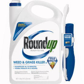 Roundup 5109010 Weed and Grass Killer, Liquid, Wand Spray Application, 1.1 gal Bottle
