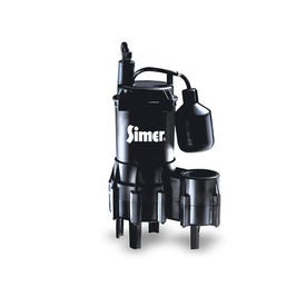 Pentair Simer 2961 Submersible Sewage Pump, 14 A, 115 V, 4/10 hp, 2 in Outlet, 18 ft Max Head, 5250 gph