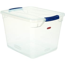 Rubbermaid Clever Store RMCC300001 Storage Container, 30 qt Capacity, Plastic, Clear Blue
