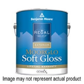 Benjamin Moore MoorGlo W09601-001 Exterior Paint, White, Soft Gloss, 1 gal Pail