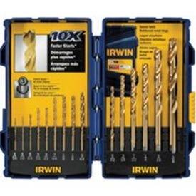 IRWIN 4935607 Drill Bit Set, Jobber Length, 15-Piece, Steel, Titanium-Coated
