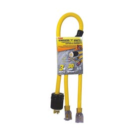 Prime GCT20903 Generator Adapter with Indicator Light, 10/4 AWG Cable, 3 ft L, Yellow Jacket