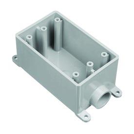 Carlon E980FFN-CTN Outlet Box, 4.54 in L, 2.8 in W, 1-Gang, PVC, Gray