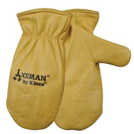 AXEMAN 1930-XL Mitt Shell Safety Gloves, Men's, XL, Wing Thumb, Easy-On Cuff, Cowhide Leather, Tan
