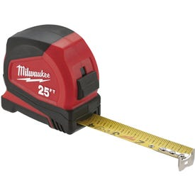 Milwaukee 48-22-6625 Tape Measure, 25 ft L Blade, 1.65 in W Blade, Steel Blade, ABS Case, Black/Red Case