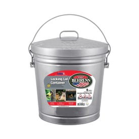 Behrens 6106 KIT Locking Lid Can, 6 gal Capacity, 14 in H, Galvanized Steel, Silver